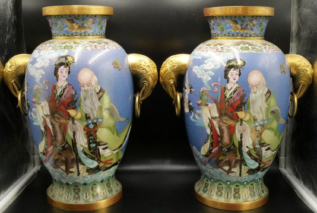 Pair of Chinese Cloisonne & Bronze Vases