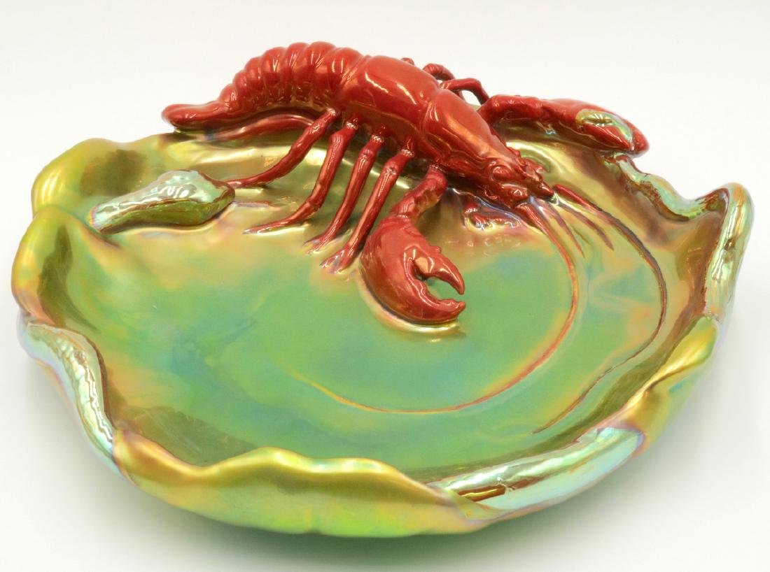 Zsolnay Hungary Iridescent Pottery Lobster Serving Dish