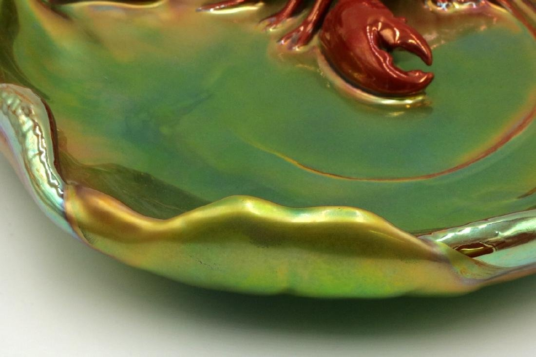 Zsolnay Hungary Iridescent Pottery Lobster Serving Dish - 3