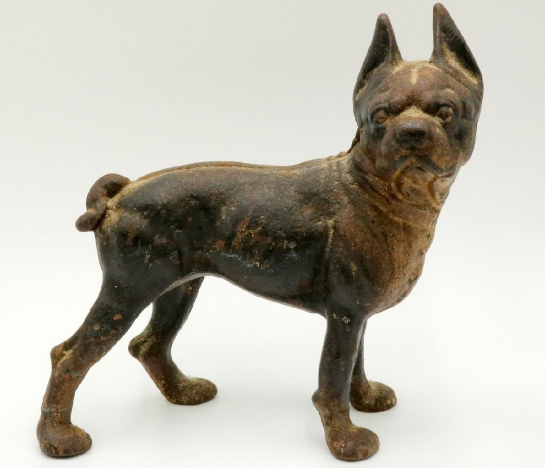 Antique Hubley Cast Iron Boston Terrier Door Stop