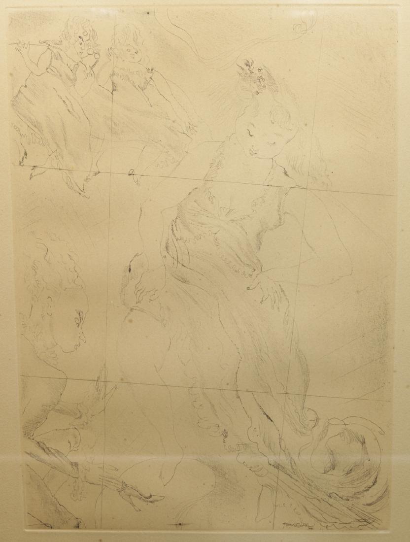 """Jules Pasin (1885-1930) """"Cinderella"""" Etching"""