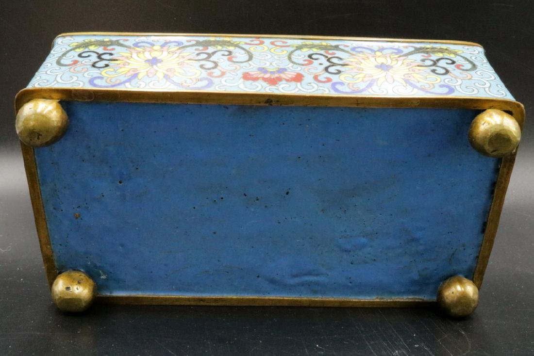 Vintage Chinese Cloisonne Covered Box - 4