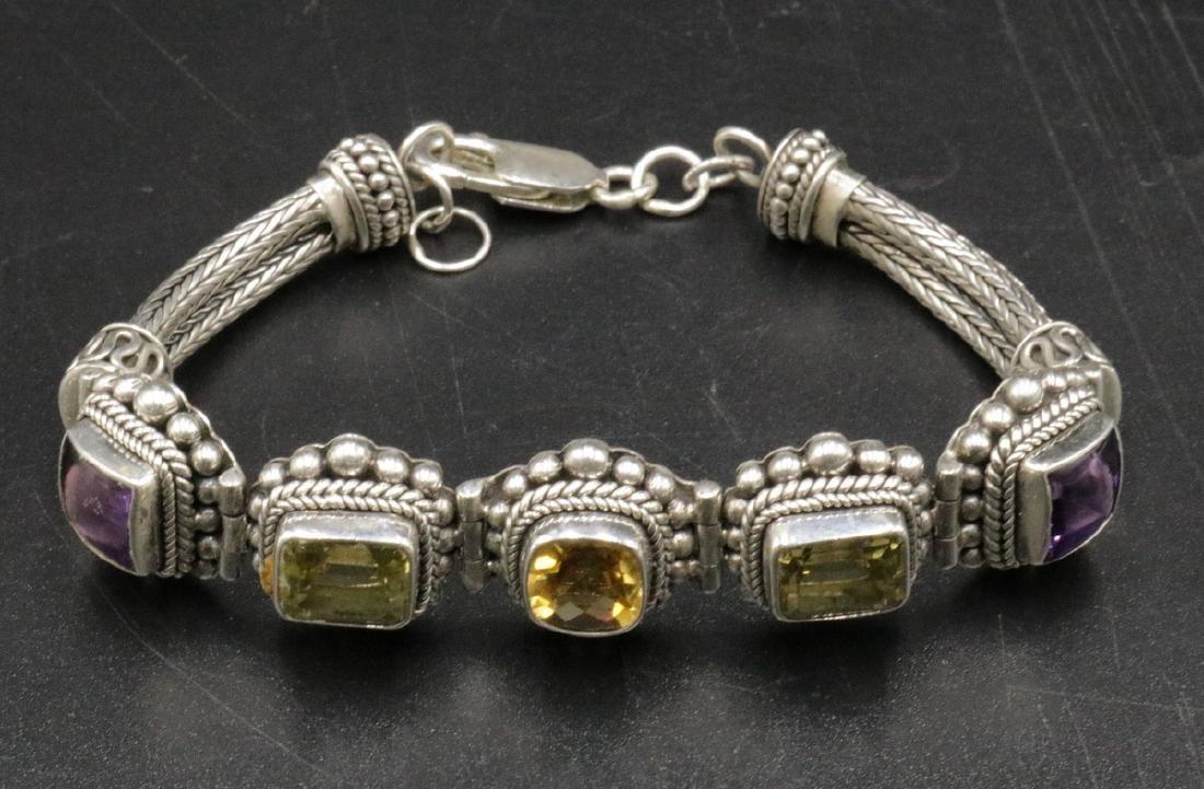 Sterling & Semi-Precious Stone Bracelet - 2