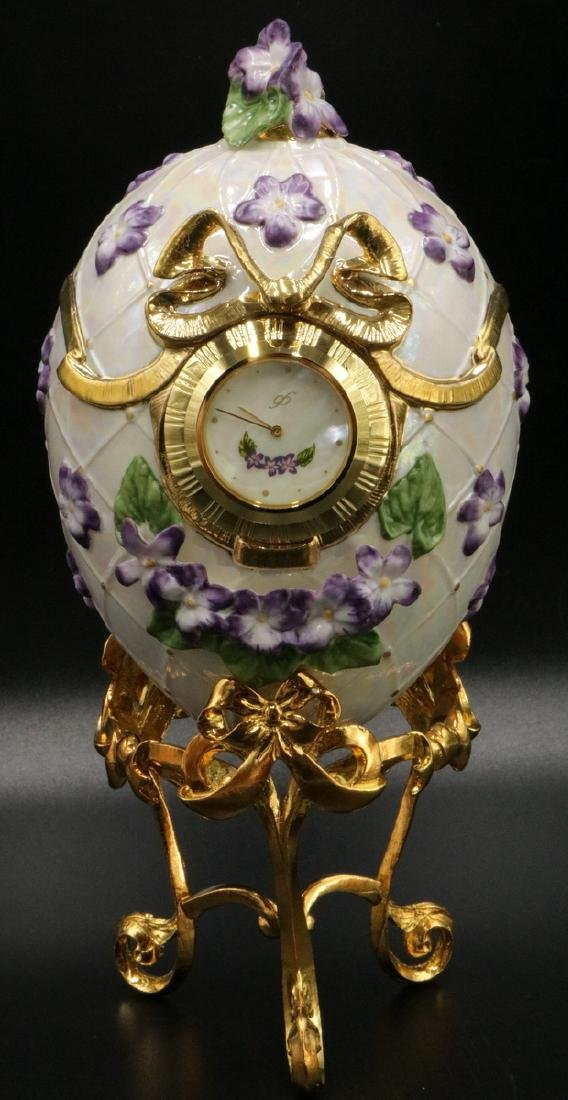 House of Faberge, Franklin Mint Porcelain Egg Clock