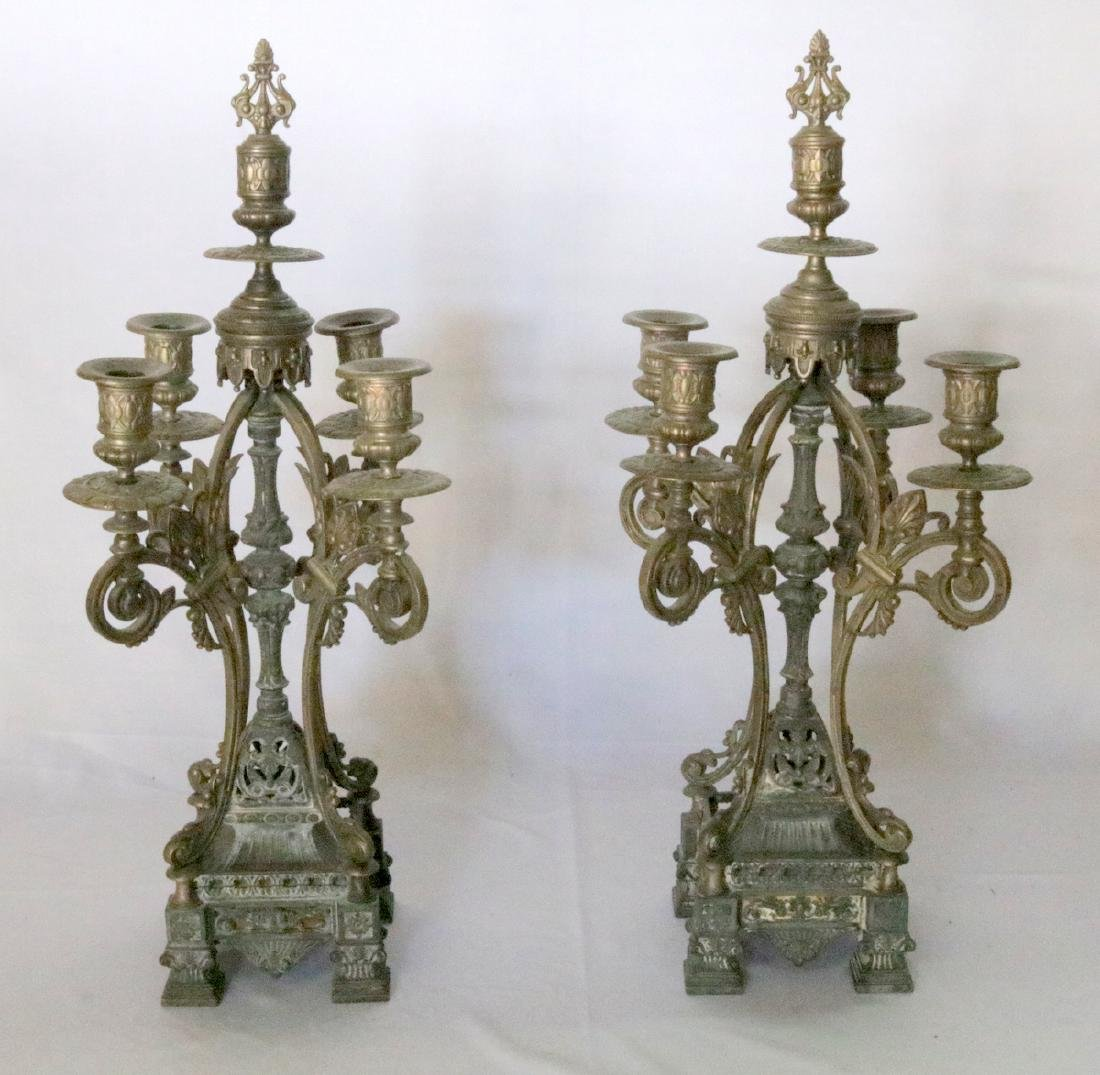 Antique American Gothic Bronze 5-Arm Candelabras