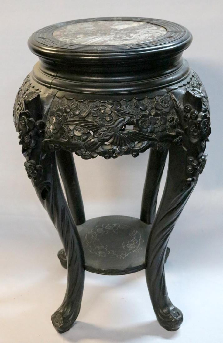 Early 20th C. Chinese Carved Teakwood Pedestal