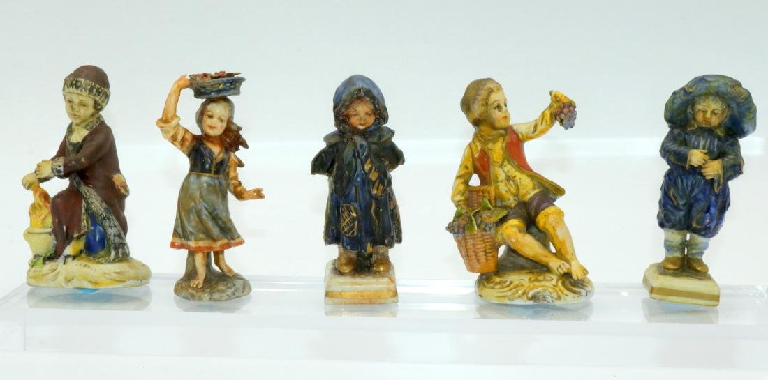 5 Pc. Capodimonte Hand Painted Porcelain Figures