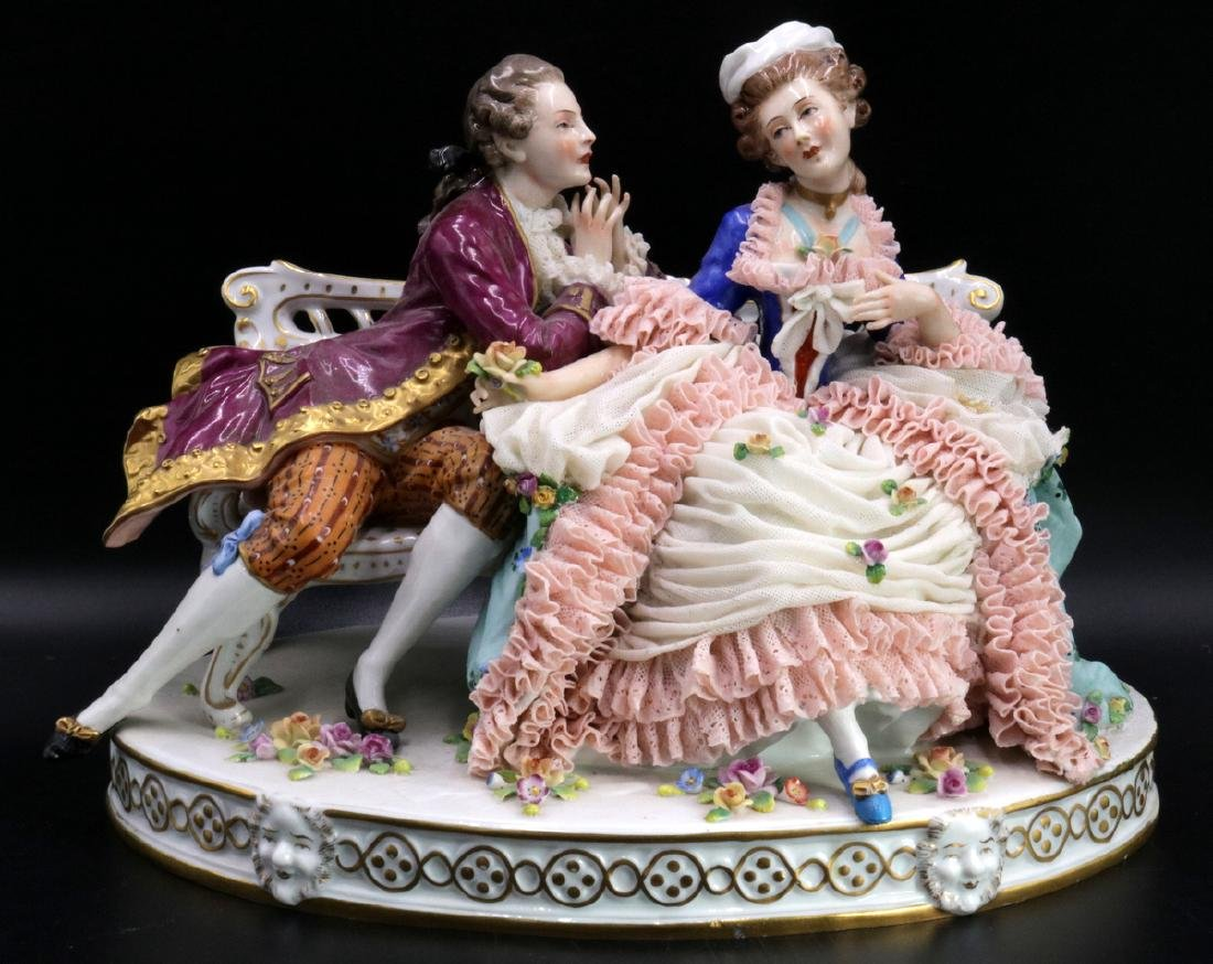 Sitzendorf German Hand Painted Porcelain Group