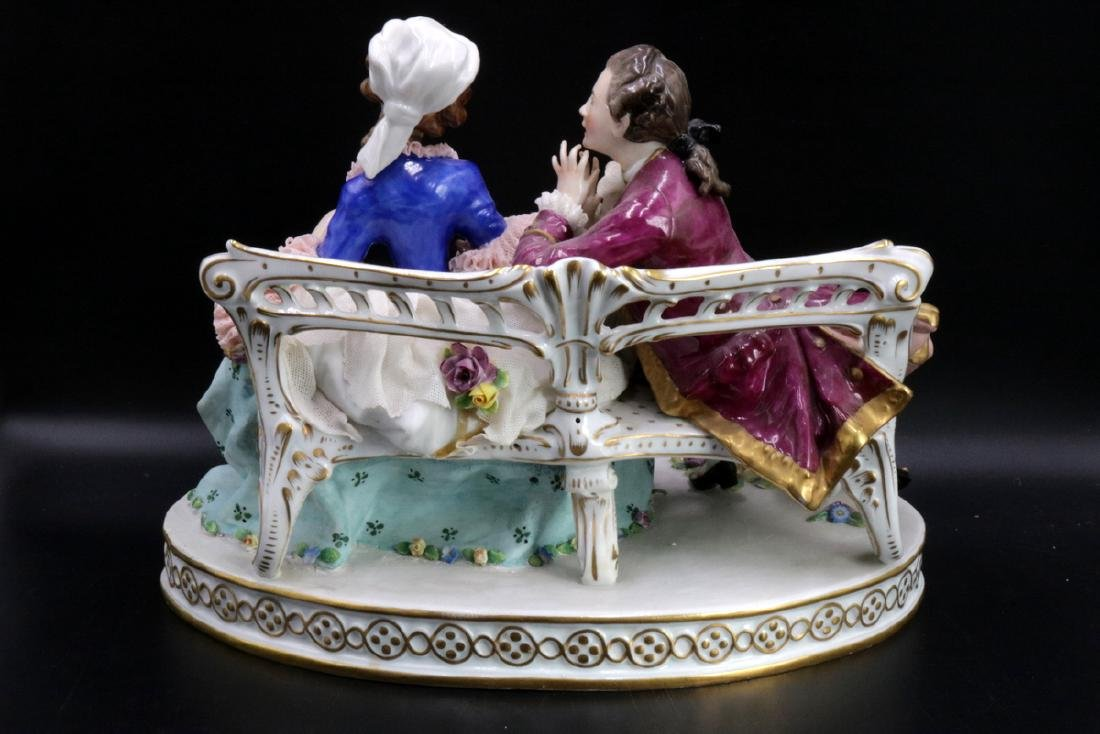 Sitzendorf German Hand Painted Porcelain Group - 6