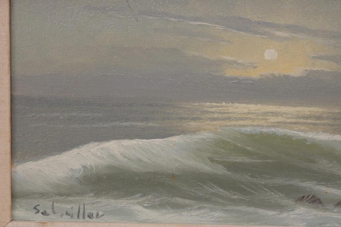 Signed Seascape Oil Painting on Canvas - 3