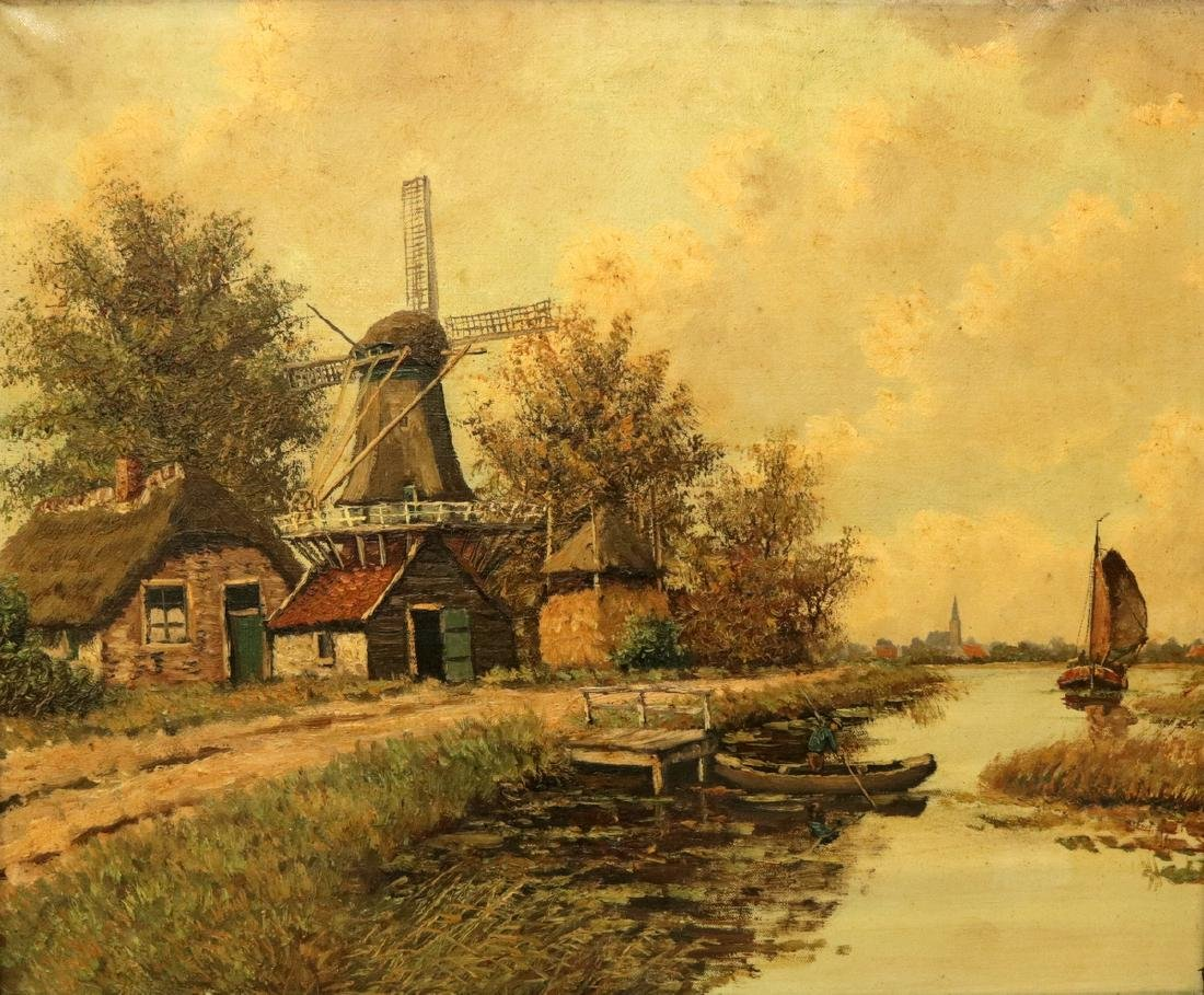 Unsigned Late 19th C. Dutch Oil on Canvas