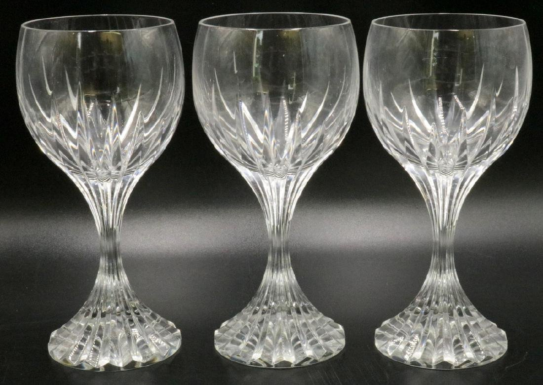 "3 Pc. Baccarat ""Massena"" Crystal White Wine Glasses"