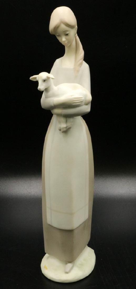 Lladro Bisque Woman w/ Sheep