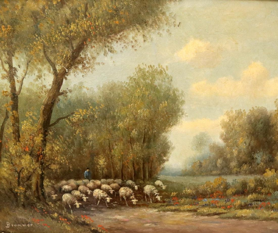"Signed 19th C. Dutch ""Flock"" Oil on Canvas"