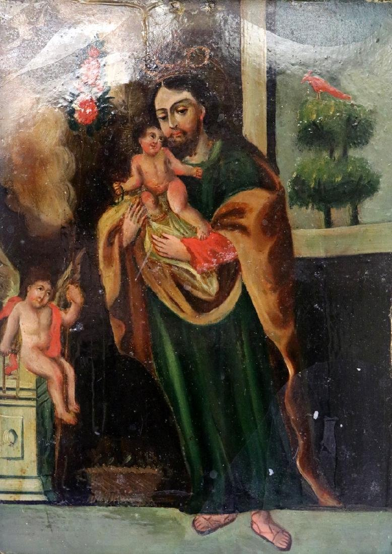 Antique Religious Oil on Tin