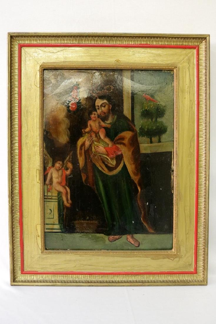 Antique Religious Oil on Tin - 2