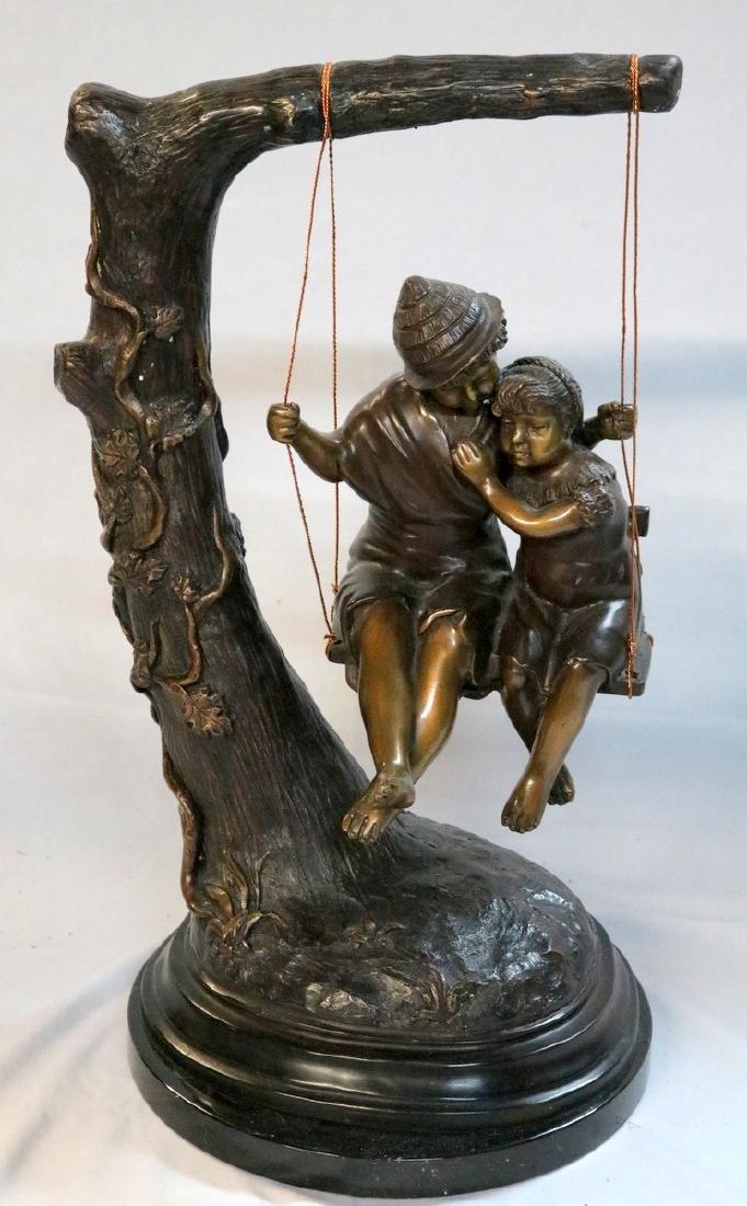 20th C. Children on Swing Bronze Group