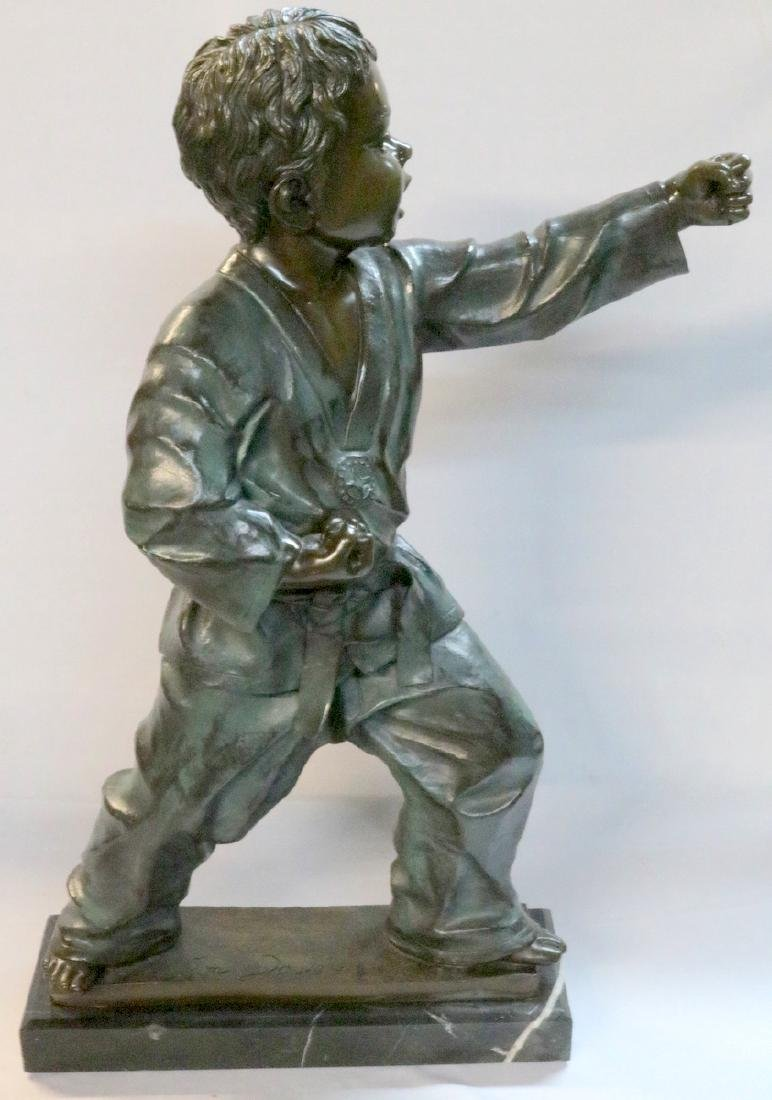 "Jim Davidson 20th C. ""Karate Kid"" Bronze Sculpture"