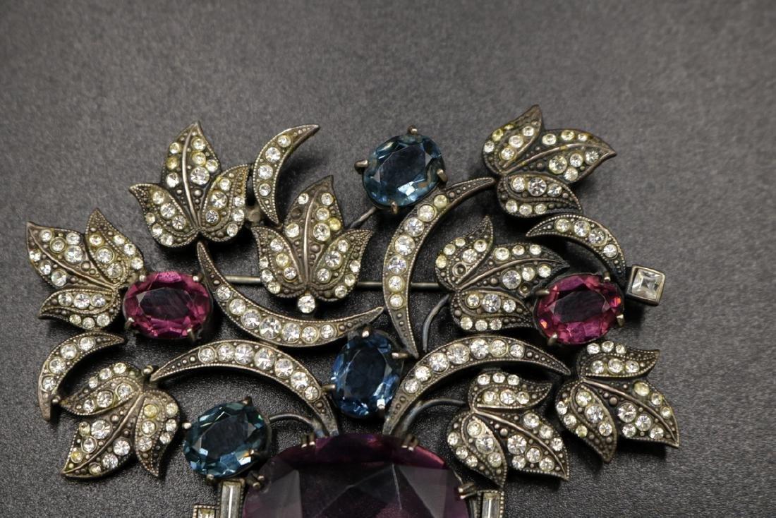 Vintage Art Deco Sterling Floral Brooch - 2