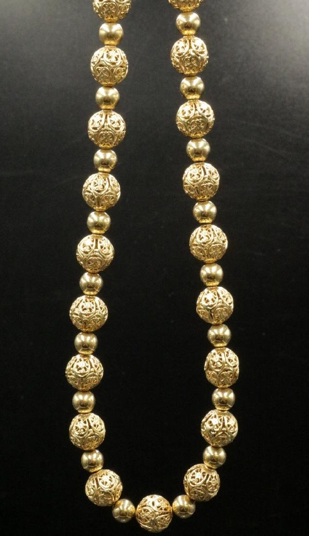 14Kt YG Reticulated Beaded Necklace