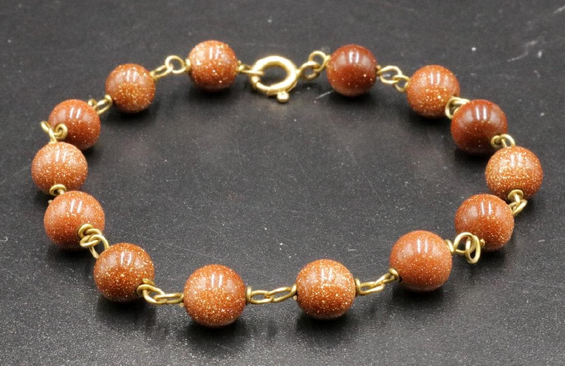 14Kt YG Brown Sandstone Beaded Bracelet