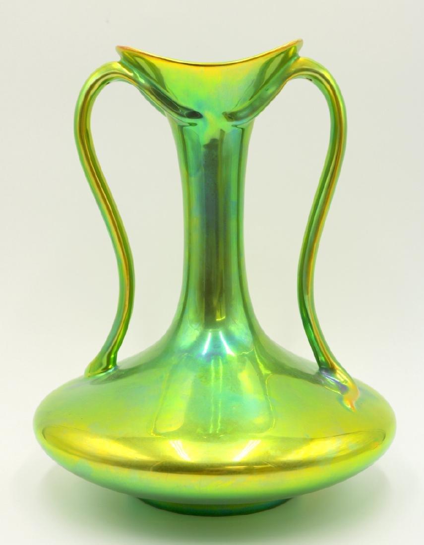 Zsolnay Hungary Iridescent Pottery Handled Vase