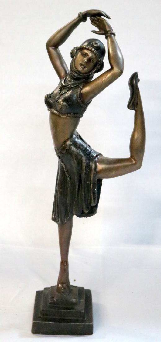 Chiparus Style 20th C. Bronze Dancer