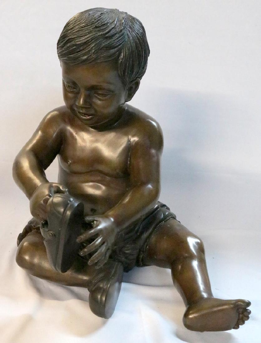 20th C. Boy Bronze Sculpture