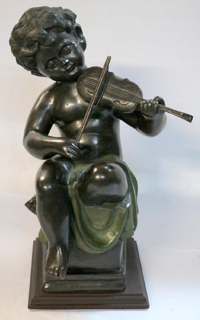 20th C. Cherub Playing Violin Bronze Sculpture