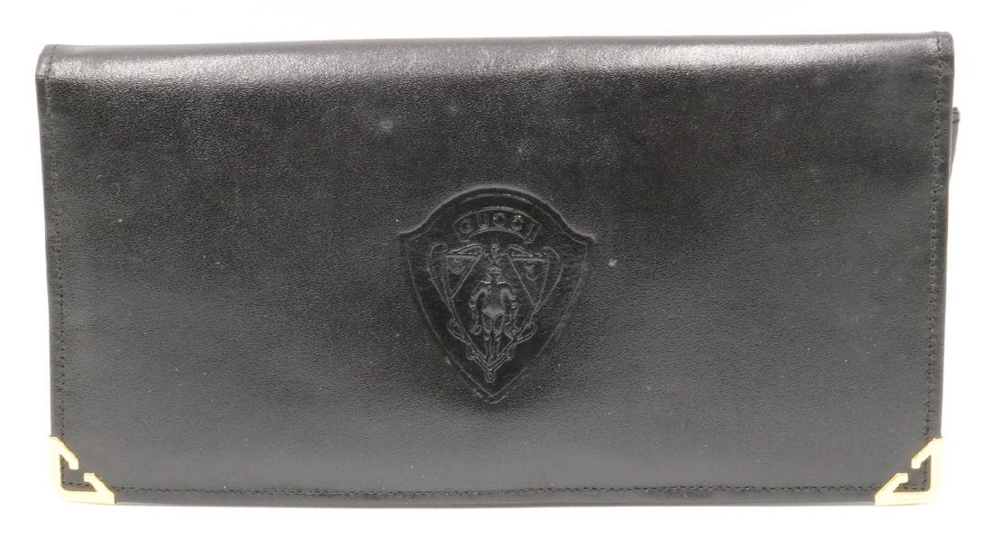 Vintage Gucci Black Leather Travel Wallet