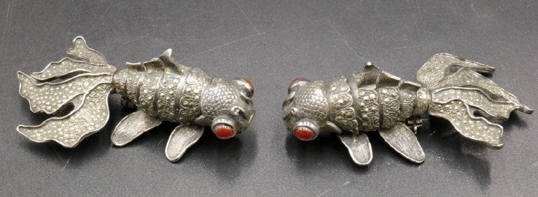 Pair of Sterling & Marcasite Koi Fish Pins