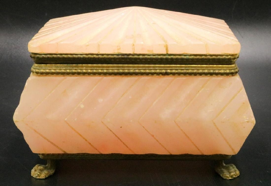 French Carved Rose Quartz Covered Box