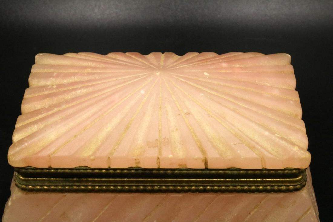 French Carved Rose Quartz Covered Box - 2