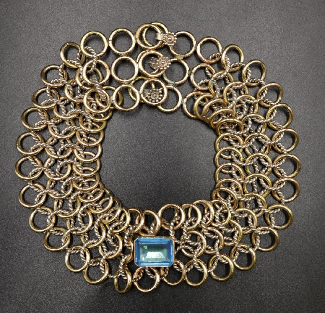 Sterling & Gold Tone Blue Topaz Cable Link Necklace