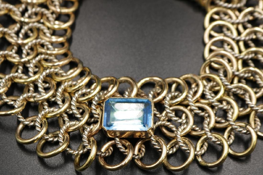 Sterling & Gold Tone Blue Topaz Cable Link Necklace - 2