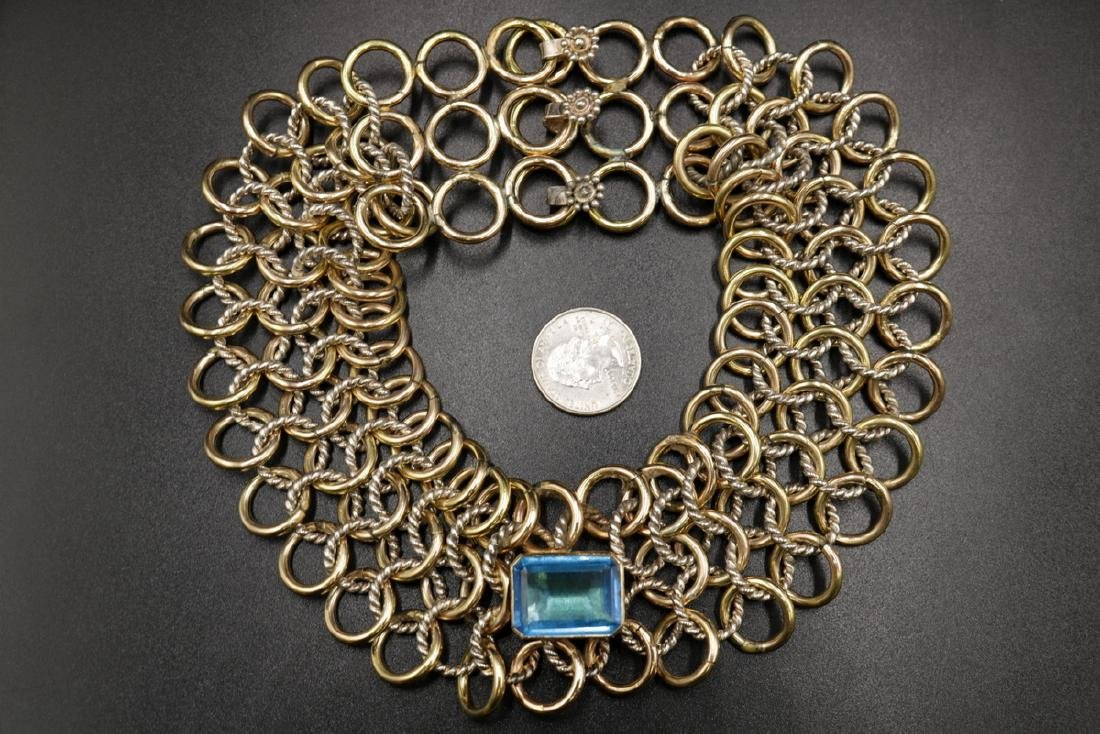 Sterling & Gold Tone Blue Topaz Cable Link Necklace - 5