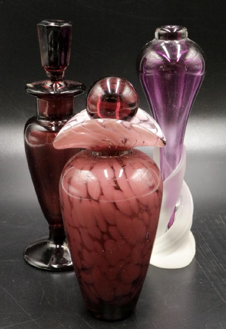 Three Purple Art Glass Perfume Bottles