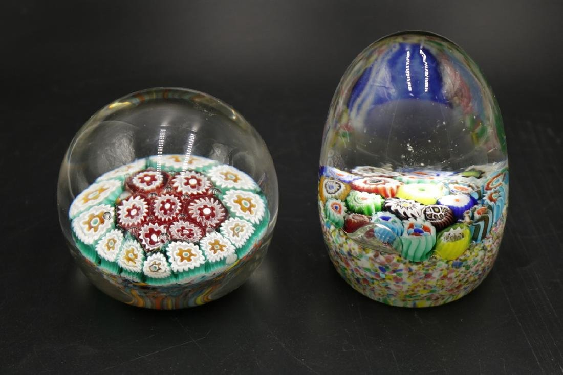 Two Italian Millefiori Art Glass Paperweights