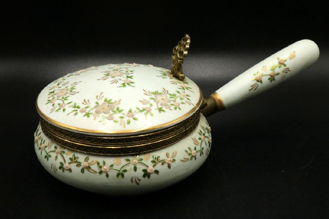 French Hand Painted Porcelain Hinged Box w/ Handle