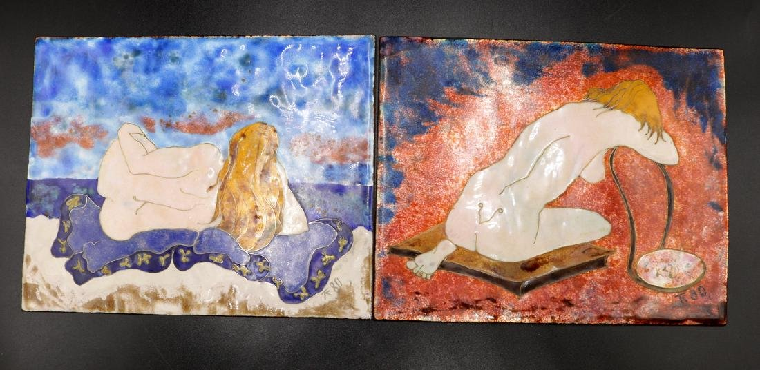 Two Hand Painted Enamel Nude Women Plaques