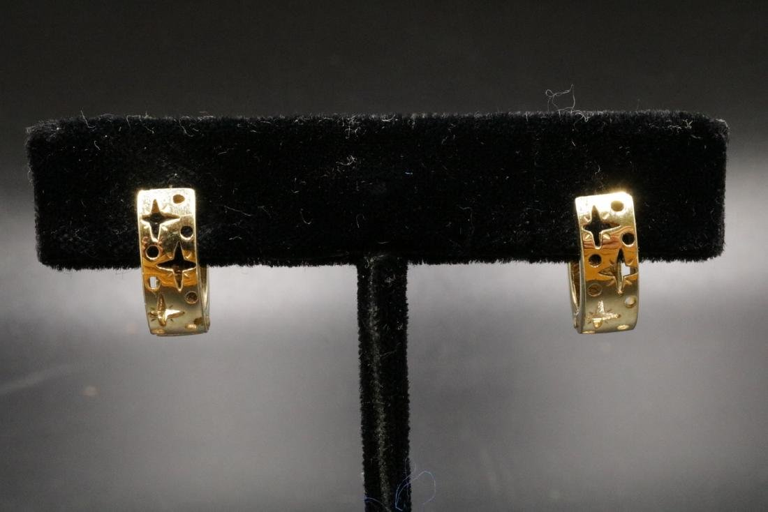 14Kt YG Diamond Huggie Earrings - 3