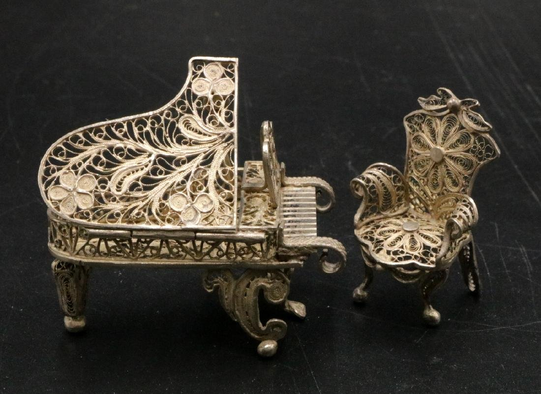 Miniature Sterling Reticulated Piano & Chair
