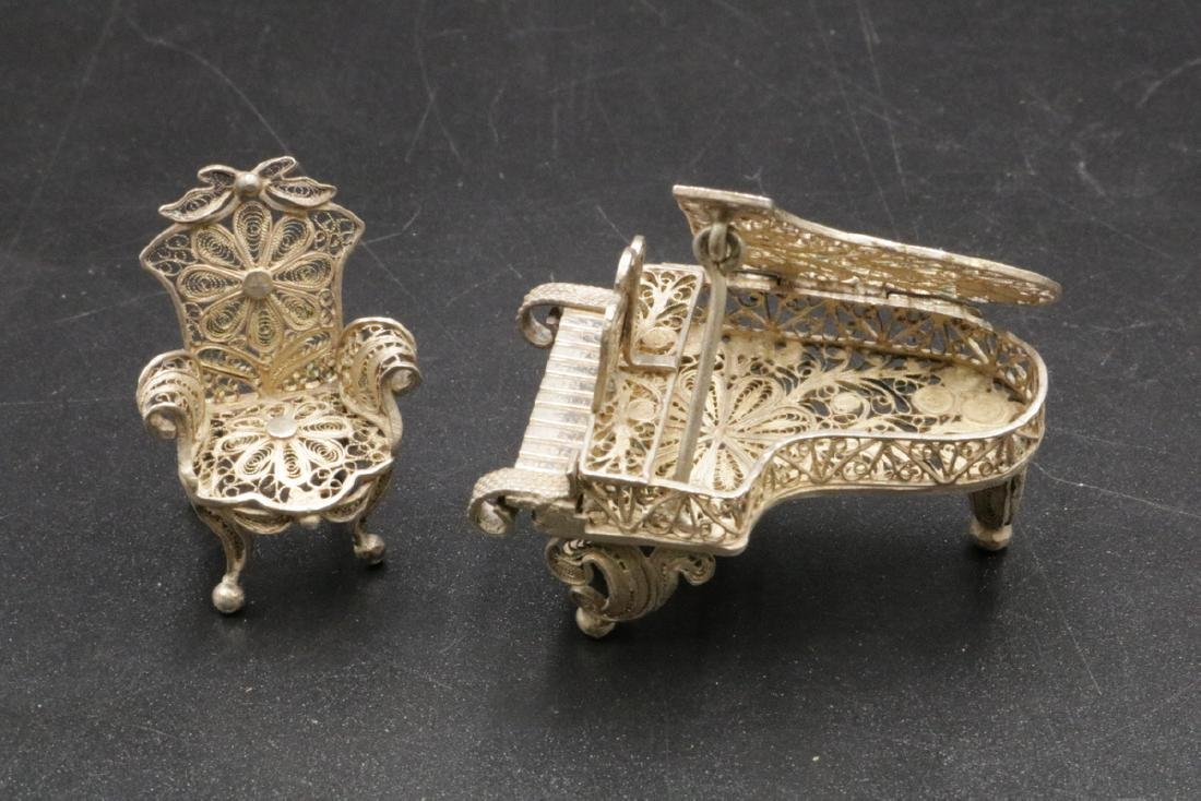 Miniature Sterling Reticulated Piano & Chair - 3