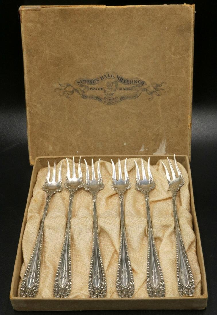 6 Pc. Simpson Hall Miller & Co. Sterling Cocktail Forks