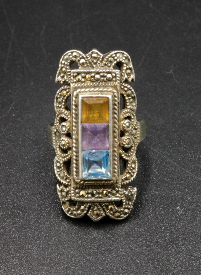 Sterling Semi-Precious Stone & Marcasite Ring
