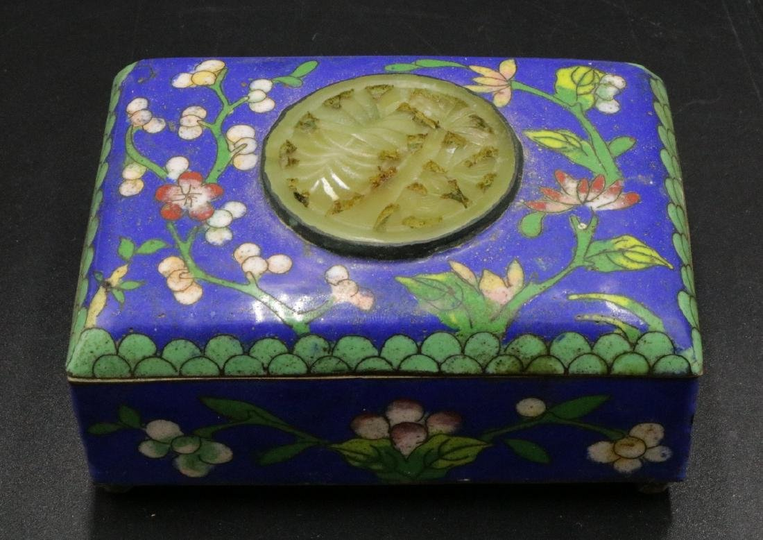 Chinese Jade Insert Cloisonne Covered Box