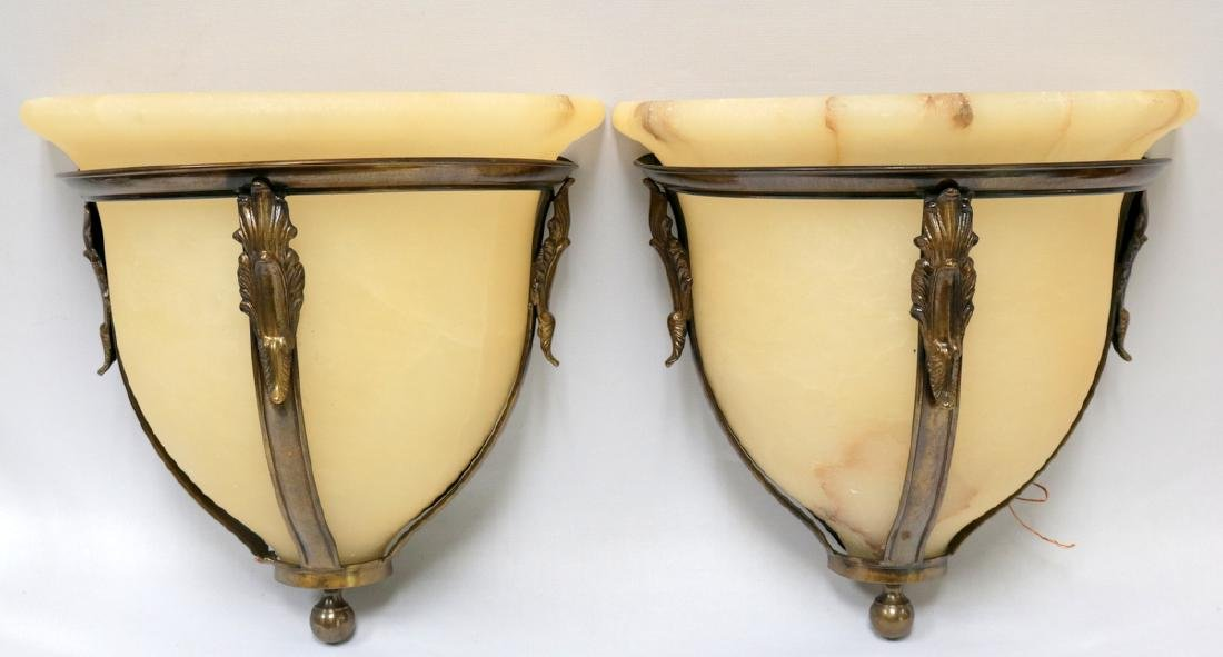Pair of Lacquered Brass & Alabaster Wall Sconces