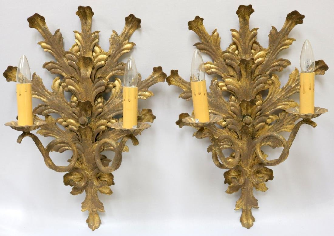 Pair of Gilt Iron 2-Light Wall Sconces