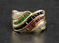 14Kt YG Sapphire Ruby Emerald  Diamond Ring