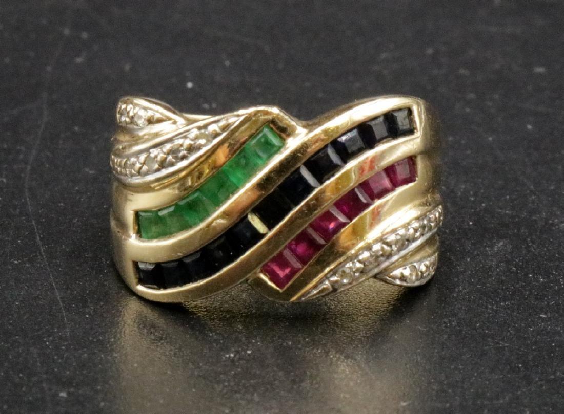 14Kt YG Sapphire, Ruby, Emerald & Diamond Ring